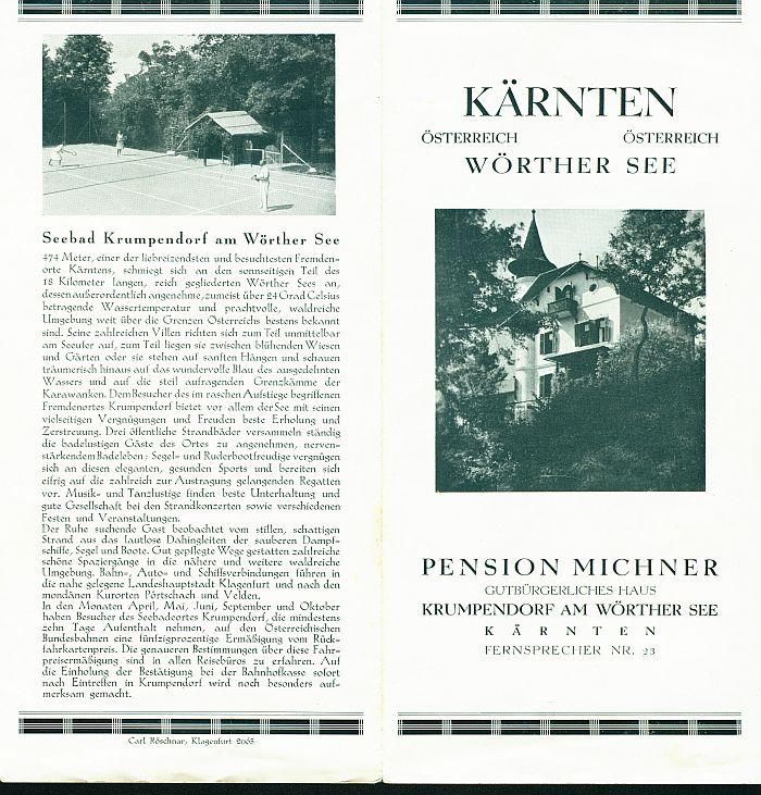 Prospekt Pension Michner 1 1930er