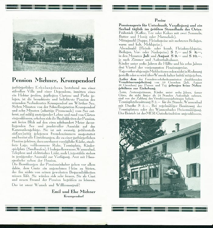 Prospekt Pension Michner 2 1930er