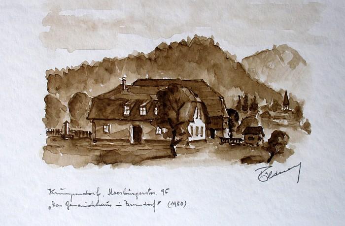 """""""Das Gemeindehaus in Krumpendorf"""" Aquarell Tölderer 1970"""