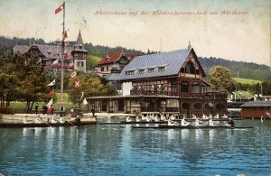 Albatroshaus dahinter Hotel Wörthersee 1912