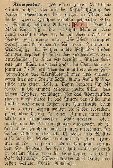 Einbruch in Villen Schöller in Krumpendorf im Feb. 1914