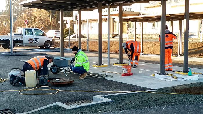 Errichtung der Bushaltestelle am Bahnhofsvorplatz