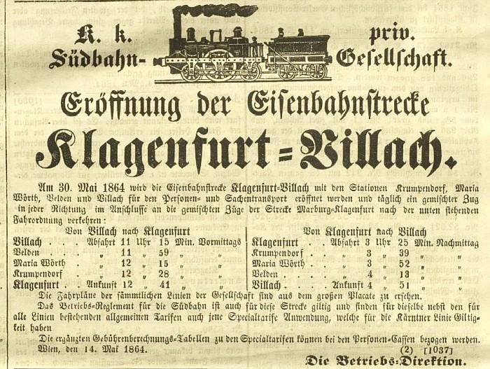 Ankündigung der Eröffnung der Eisenbahnstrecke Klagenfurt-Villach 1864