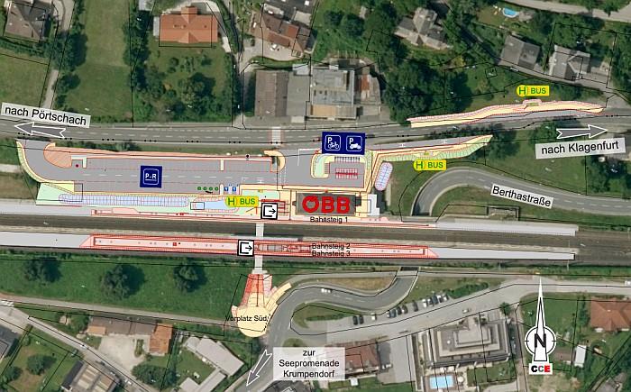 Lageplan Modernisierung Bahnhof Krumpendorf 2020
