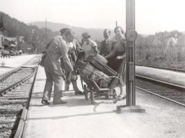 Bahnhof Krumpendorf Abreise Gäste 1940