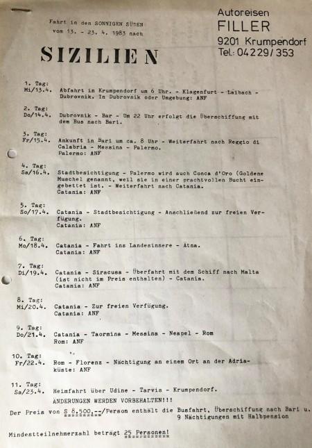Reiseplan Sizilien 1983 - Filler Reisen