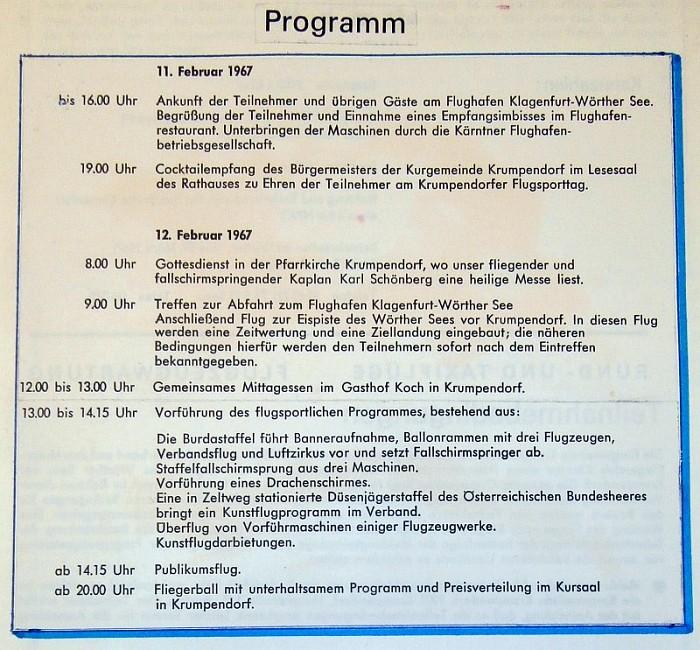 Programm der Flugsportveranstaltung Krumpendorf 1967