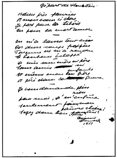 Gedicht Depart de Hornstein 1951