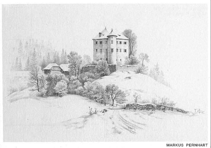 Schloss Hornstein - Zeichnung von Markus Pernhart
