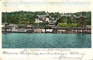 Hotel Wörthersee mit Militärschwimmschule 1902