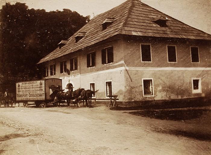 Simonwirt mit Transportwagen um 1892