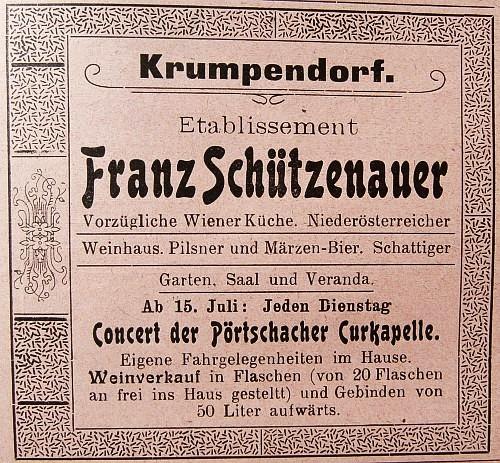 Franz Schützenauer Anzeige 1902