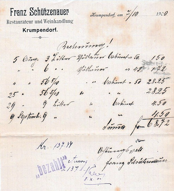 Franz Schützenauer Weinrechnung 1900