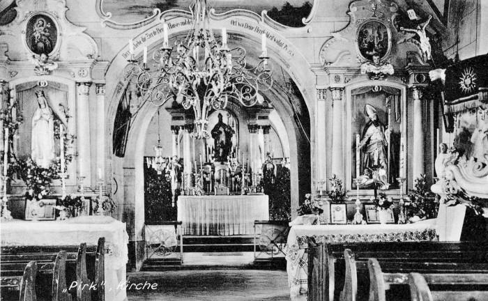 Kirchenraum der St. Ulrichskirche in Pirk ca. 1910