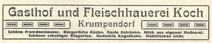 Anzeige Gasthof und Fleischerei Koch Kur-Zeitung vom Wörthersee 1914