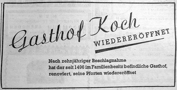 Anzeige zur Wiedereröffnung des Gasthof Koch 1956