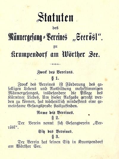 MGV Seerösl Statuten gedruckt 1899