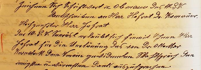 Dankesbrief an Dr. Edwin Komauer 1923