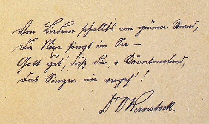 Verse des Dichters Ottokar Kernstock 1923