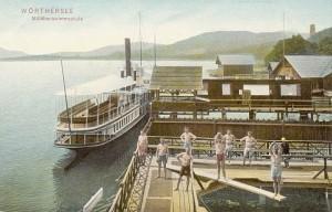 Militärschwimmschule mit Dampfer 1906