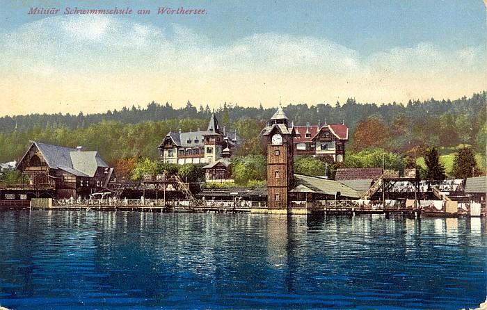 Militärschwimmschule mit Hotel Wörthersee 1915