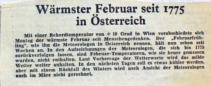 Wärmster Februar seit 1775 - Zeitungsartikel