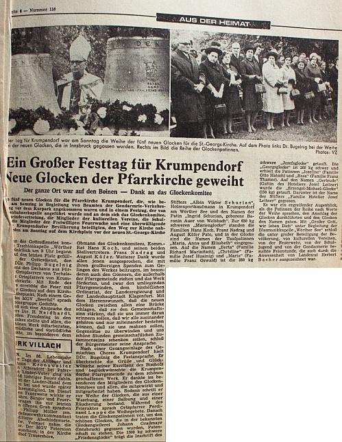 Glockenweihe Christkönigkirche 1968 - Zeitungsartikel