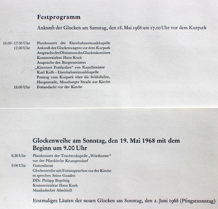 Glockenweihe Festprogramm