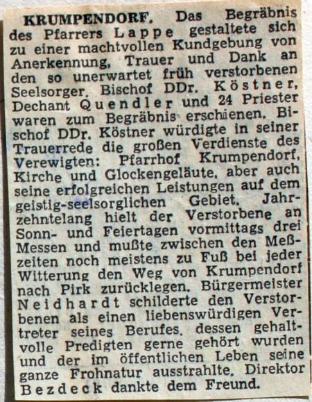 Pfarrer Lappe Begräbnis - Zeitungsartikel