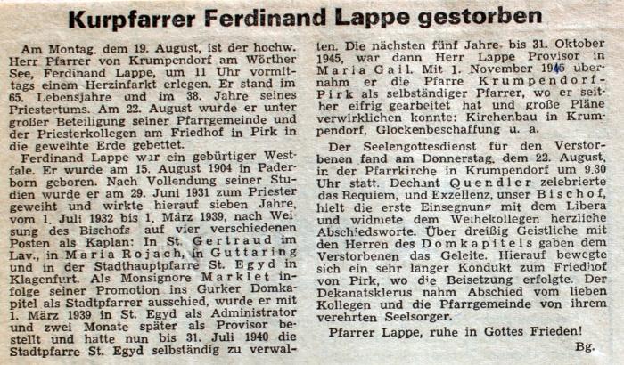 Pfarrer Lappe gestorben - Zeitungsartikel 1968