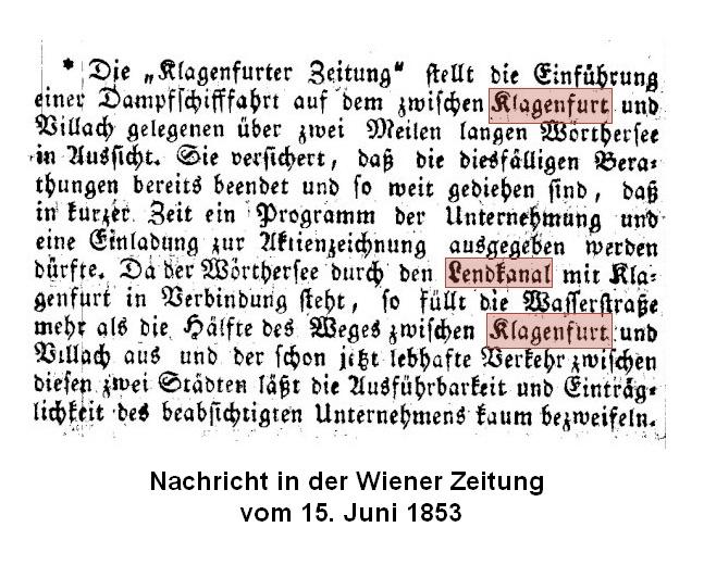 Nachricht in Wiener Zeitung 1853