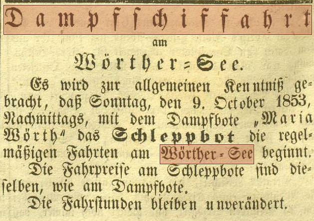 Klagenfurter Zeitung 8.10.1854