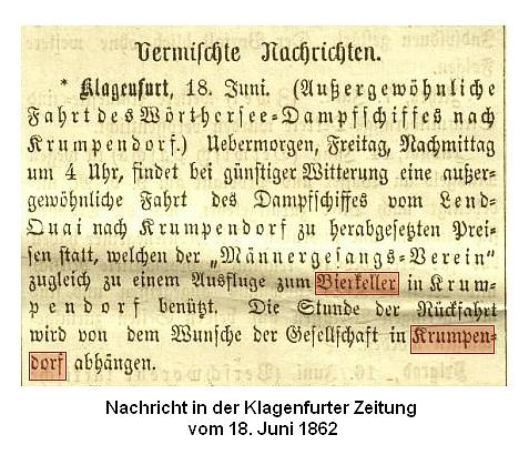 Fahrt zum Bierkeller nach Krumpendorf 1862