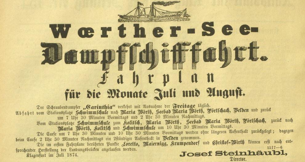 Inserat Dampfschifffahrt 1874