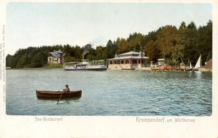 Seerestauration Krumpendorf mit Dampfschiff Helios 1903