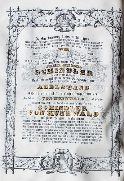 Auszug aus der Adelsurkunde von 1859