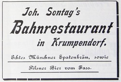 Anzeige Bahnrestaurant in Krumpendorf Cur-Zeitung 1897