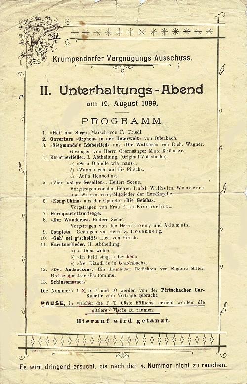 Programm des II. Unterhaltungs-Abends am 19. August 1899