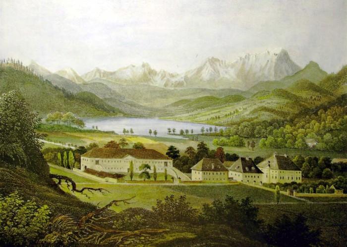 Schloss Krumpendorf 1835-40, Lithogafie von Josef Wagner koloriert