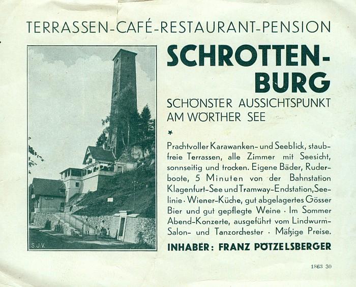 Schrottenburg-Werbung 1930er Jahre