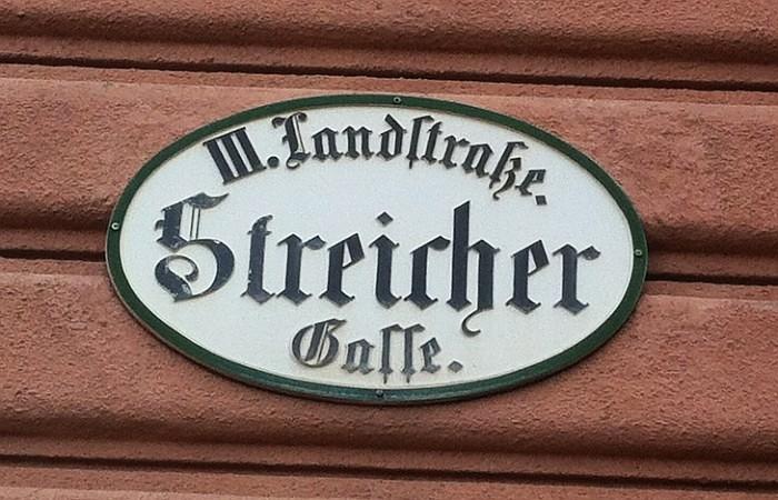 Straßenschild Streichergasse in Wien, 3. Bezirk