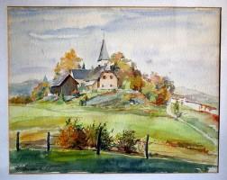 Ulrichkirche in Pirk Aquarell 1958