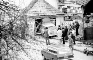 Verkehrsunfall bei Trafik Eichholzer 1970