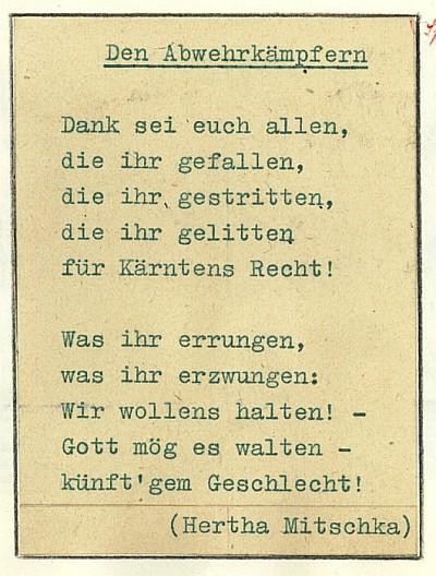 Heldenehrung - Den Abwehrkämpern 1960