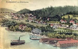 Zeichnung Seeufer Krumpendorf koloriert 1900