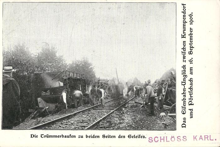 Eisenbahnungück Krumpendorf 1906 Aufräumarbeiten